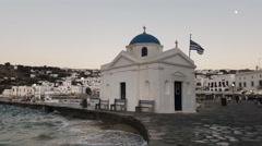 Agios nikolakis church in chora on the greek island of mykonos Stock Footage