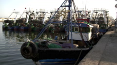 Old fishing harbor port in Agadir Stock Footage
