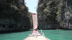 Boating on the Andaman Sea to the islands in Thailand Stock Footage