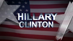Hillary Clinton 3D Motion Graphics With American Flag Background Looping Stock Footage