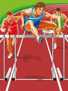 Athlete steeplechase. Jumps barrier Piirros