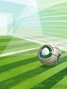 Soccer Field With Goal, Ball And Text Stock Illustration