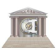 Bank Safe in form houses isolated on white background Stock Illustration
