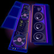 DJ equipment on a black background Stock Illustration