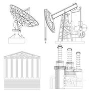 Drawing Industries: telecommunications, the oil, financial, energy Stock Illustration
