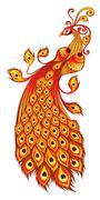 Magic firebird on a white background Stock Illustration