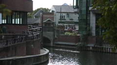 English pub at the canal Stock Footage