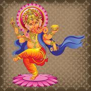 Dancing Ganesha on ornamented background Stock Illustration