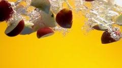 Apple Slices Splash Stock Footage