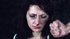 4k Domestic Violence and Abuse, Woman with Bruises and Man Fist Arkistovideo