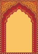 Arch-style Indian red ornaments, template for text. Stock Illustration