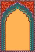 Traditional ornamental background with arched frame Stock Illustration