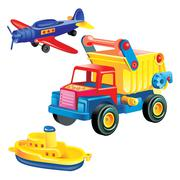 Transport infrastructure concept - toy ship, truck and plane, white backgroun Stock Illustration