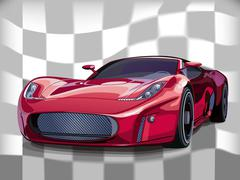 Red sports car Piirros