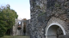 Reading Abbey Ruins - very long shot Stock Footage