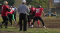 Scrimmage in American football, referee stopping the match, professional sport HD Footage