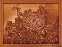Woodcarving turtle carved on the board Stock Illustration