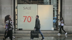 Slow motion sales shoppers, Oxford Street, London Stock Footage
