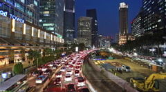 Transjakarta bus in Jakarta business district chaotic streets Stock Footage