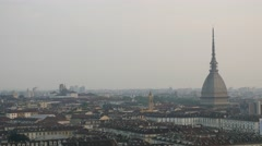 Panoramic view of Turin and The Mole Antonelliana in background Stock Footage