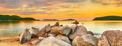 Amazing landscape at sunset. Panorama Stock Photos