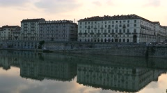 Panoramic view of Turin at sunset Stock Footage