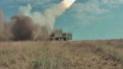 "Russian rocket launch (3M-24E) ""ball"" coastal missile system. Stock Footage"