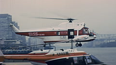 New York 1977: helicopter land near the river Stock Footage