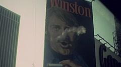 New York 1977: Winston cigarettes billboard Stock Footage