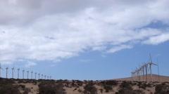 Wind generator in stone desert Stock Footage