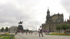 Pan across Theaterplatz in Dresden Stock Footage