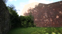 The wall of the Reading Prison in England - pan Stock Footage