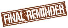 Final reminder square grunge stamp Stock Illustration