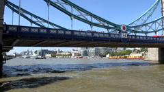Great Britain England City of London part of Tower Bridge over Thames River Stock Footage