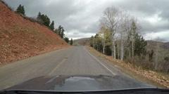 Scenic snow mountain Mnt Nebo drive POV window 4K 978 Stock Footage