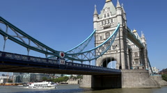 Great Britain England City of London Thames sightseeing boat under Tower Bridge Stock Footage