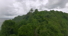 Aerial of green dense forest near the sea coast Stock Footage