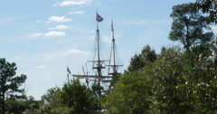 Colonial Ships Arrival at New World Behind Trees English Flag, 4K Stock Footage