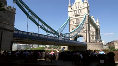 Great Britain England City of London Tower Bridge seen from southern riverside Stock Footage