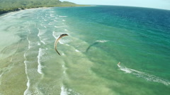 Kitesurfing on the coast of the Philippines. Aerial views Stock Footage