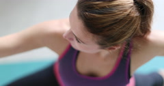 Young adult female doing yoga at home Stock Footage