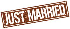 Just married square grunge stamp Stock Illustration