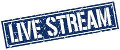 Live stream square grunge stamp Stock Illustration