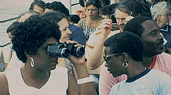 New York 1977: passengers of Circle line watching twin towers Stock Footage