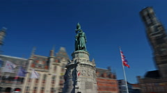 Hyperlapse  of the statue of Jan Breydel and Pieter De Coninck in Grote Markt, Stock Footage