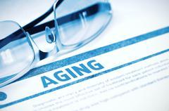 Aging - Printed Diagnosis. Medical Concept. 3D Illustration Stock Illustration