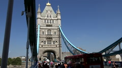 Great Britain England City of London in the middle of Tower Bridge over Thames Stock Footage
