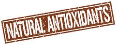 Natural antioxidants square grunge stamp Stock Illustration