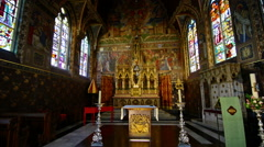 Interior of the Basilica of the Holy Blood in Bruges, Belgium Stock Footage