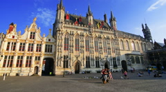 City hall of Bruges in Burg square in Bruges, Belgium Stock Footage